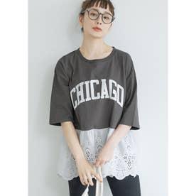 レース切り替えロゴTシャツ (Charcoal)