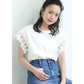 肩レースTシャツ (White)