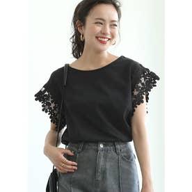 肩レースTシャツ (Black)