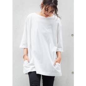 ポケット付きチュニックTシャツ (White)