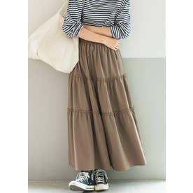裾フレアティアードスカート (Brown)