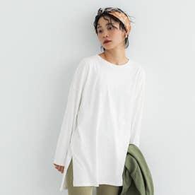 シルキーコットンサイドスリットロングTシャツ (White)