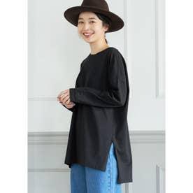 シルキーコットンサイドスリットロングTシャツ (Black)