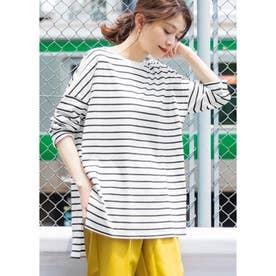 シルキーコットンサイドスリットロングTシャツ (BorderA)