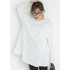 シルキーコットン裾フレアロングTシャツ (White)
