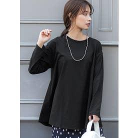 シルキーコットン裾フレアロングTシャツ (Black)