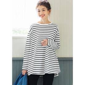 シルキーコットン裾フレアロングTシャツ (BorderA)