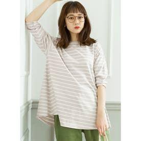シルキーコットン裾フレアロングTシャツ (BorderB)