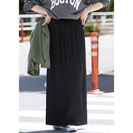 厚手リブニットスカート (Black)