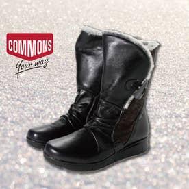 歩行時の衝撃を和らげる踏み心地の良い 軽量ラバーソール カジュアルブーツ  COM15504 (ブラック)