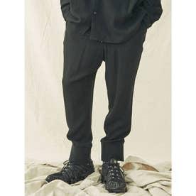 レーヨンリネン裾リブパンツ(ブラック)