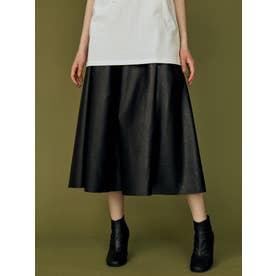 フェイクレザーフレアスカート(ブラック)
