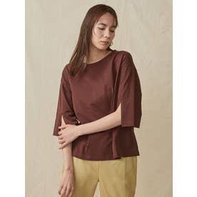 袖スリットビックTシャツ(ブラウン)