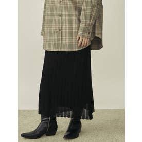 ヘリンボーン透かし柄ニットスカート(ブラック)