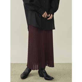 ヘリンボーン透かし柄ニットスカート(ボルドー)