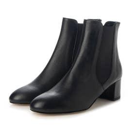 サイドゴアヒールショートブーツ (ブラック)