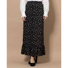フラワー裾フリルスカート (ブラック)