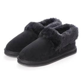 ボア付きローカット起毛ブーツ (ブラック)