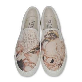 春画スニーカー 蛸と海女 (White)