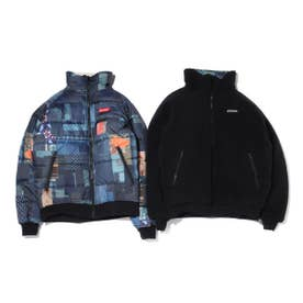 x ATMOS LAB Powder Keg(TM) Text Reversible Fleece Jacket (BLACK)
