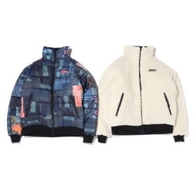 x ATMOS LAB Powder Keg(TM) Text Reversible Fleece Jacket (WHITE)