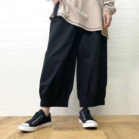 裾ギャザーイージーパンツ (クロ)