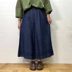 裾刺繍ワイドパンツ (ブルー)