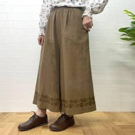 裾刺繍ワイドパンツ (ブラウン)