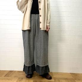 ヘリンボーン裾切替ギャザーパンツ (クロ)
