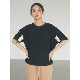 袖スピンドルTシャツ (ブラック)