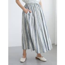 マルチストライプギャザースカート (ブルー)
