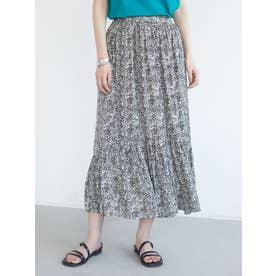 ワッシャーサテンペプラムスカート (チャコールグレー)