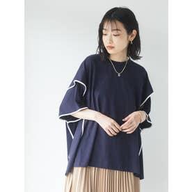 アームスリットポンチョTシャツ (ネイビー)