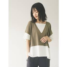 レイヤードライクTシャツ (カーキ)