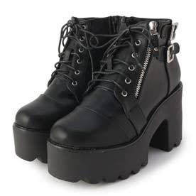 サイドジップ厚底ブーツ (ブラック)