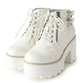 サイドジップ厚底ブーツ (ホワイト)