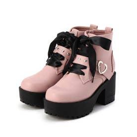 ハートバックル付きブーツ (ピンク)