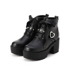 ハートバックル付きブーツ (ブラック)