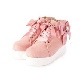 キラキラリボン付きスニーカー (ピンク)