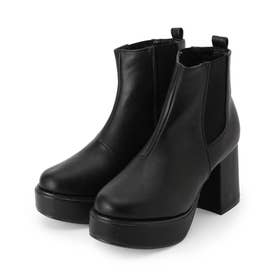 厚底サイドゴアショートブーツ (ブラック)