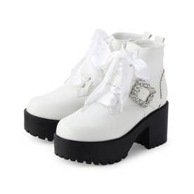 キラキラベルト付きブーツ (ホワイト)