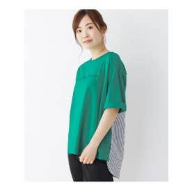 バックストライプ切替えTシャツ (グリーン)