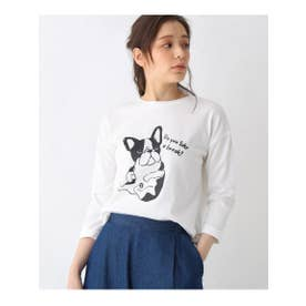 【M-L】プリントクルーネック8分袖Tシャツ (オフホワイト)