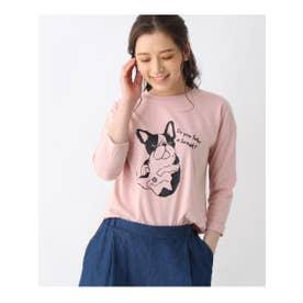 【M-L】プリントクルーネック8分袖Tシャツ (ピンク)