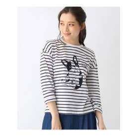 【M-L】プリントクルーネック8分袖Tシャツ (ブラック)