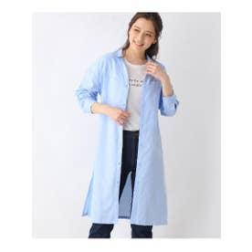 【M-L/2点セット】シャツワンピ+半袖Tシャツ (ライトブルー)