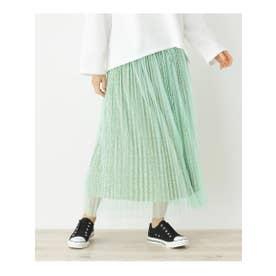 【S-L】プリーツチュール花柄スカート (ライトグリーン)
