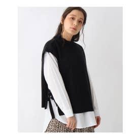 【M-L/2点セット】長袖シャツ+ベスト (ブラック)