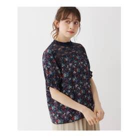 【M-L】花柄×レース切り替えパフ袖ブラウス (ネイビー)