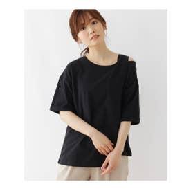 【M-L】肩あきアシメプルオーバー (ブラック)